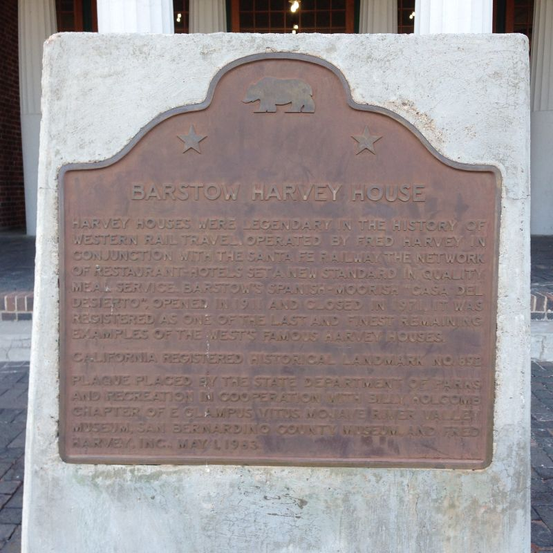 CHL #892 - Harvey House State Plaque