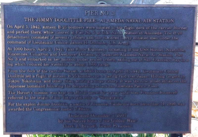 """Plaque honoring James """"Jimmy Doolittle."""
