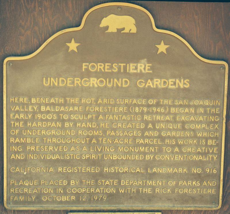 CHL #916  Forestiere Underground Gardens State Plaque