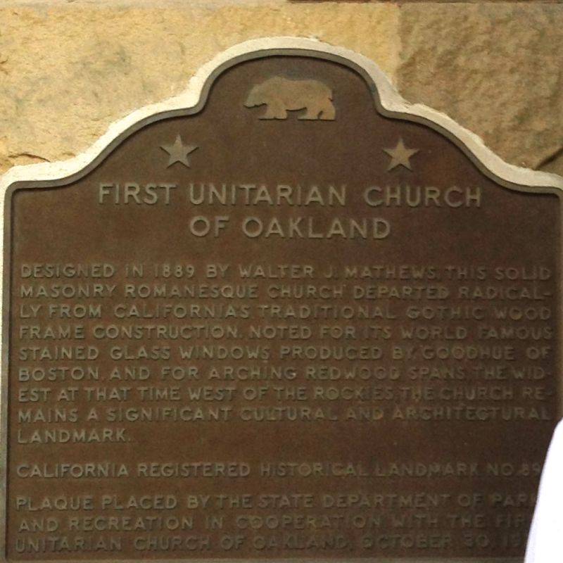 CHL #896 First Unitarian Church of Oakland State Marker