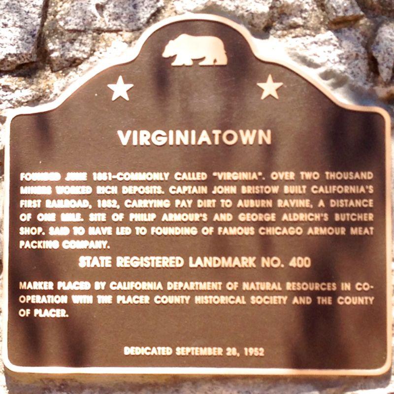 CHL #400  Virginiatown State Plaque