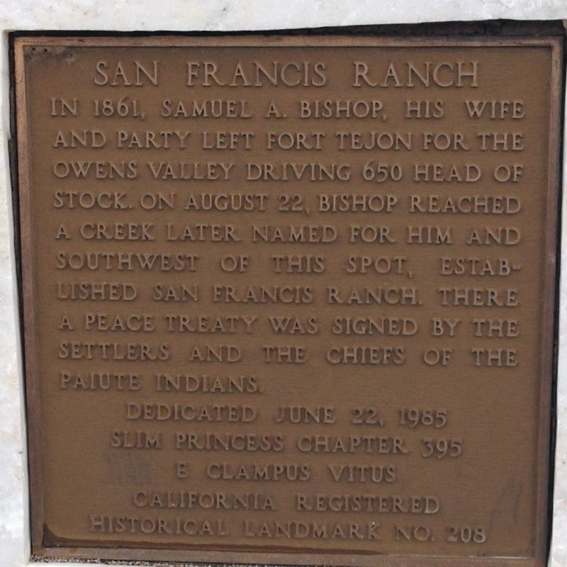 CHL #208  San Francis Ranch State Plaque
