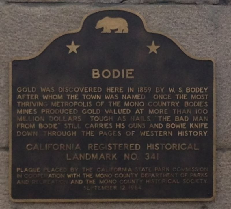 CHL #34 Bodie State Plaque