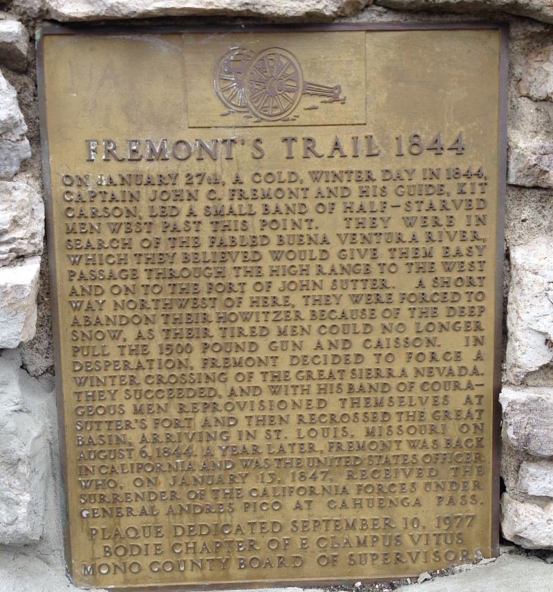 CHL #995.1 - Trail of the John C. Frémont 1844 Expedition - Mono, Private Plaque