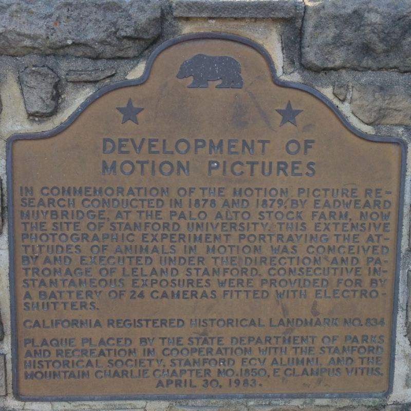 CHL #834 - Muybridge and the Development of Motion Pictures Site State Plaque