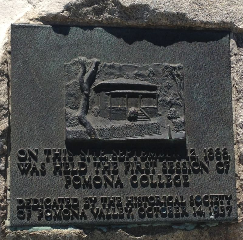 CHL #289 First home of Pomona College Private Plaque
