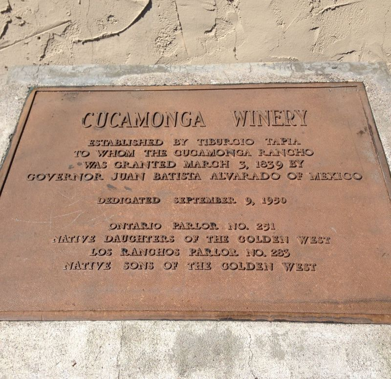 CHL #490  Cucamonga Rancho Winery Private Plaque
