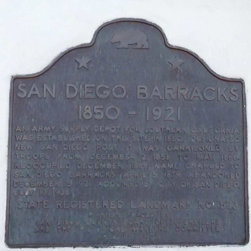 CHL #523 San Diego Barracks State Plaque