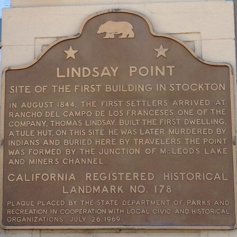 CHL #178  First Building in Stockton Site State Plaque