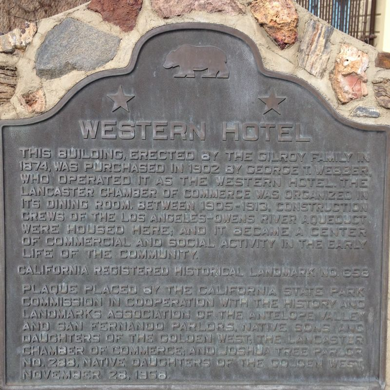 CHL #658  Western Hotel State Plaque