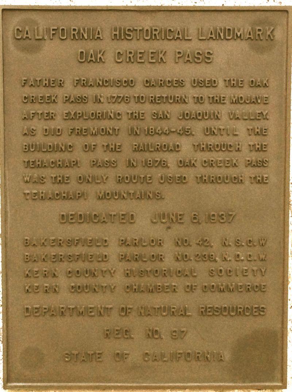 CHL #97 Oak Creek Pass Private Plaque