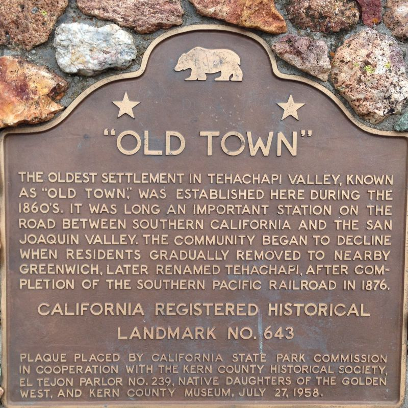 CHL #643 Tehachapi Old Town State Plaque