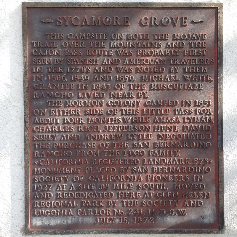 CHL #573  Sycamore Grove Private Plaque
