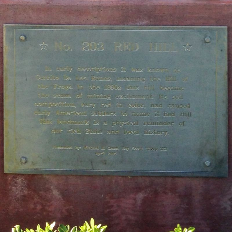CHL #203  Red Hill Private Plaque