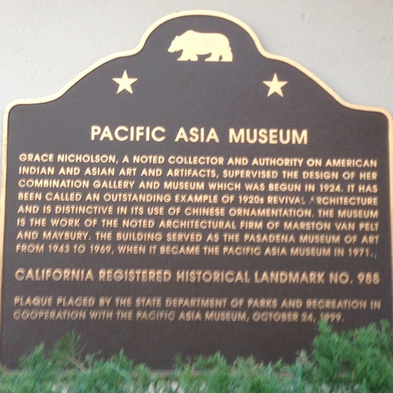 CHL #988 Pacific Asia Museum State Plaque