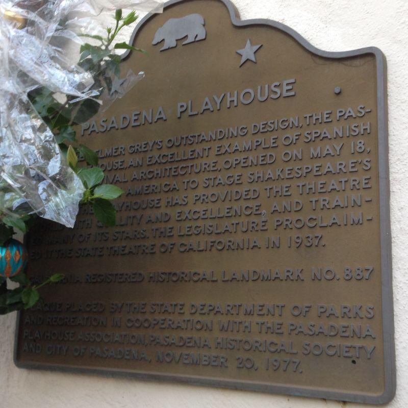 CHL #887 Pasadena Playhouse State Plaque
