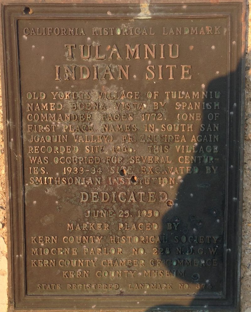 CHL #374  Tulamniu Indian Site Private Plaque