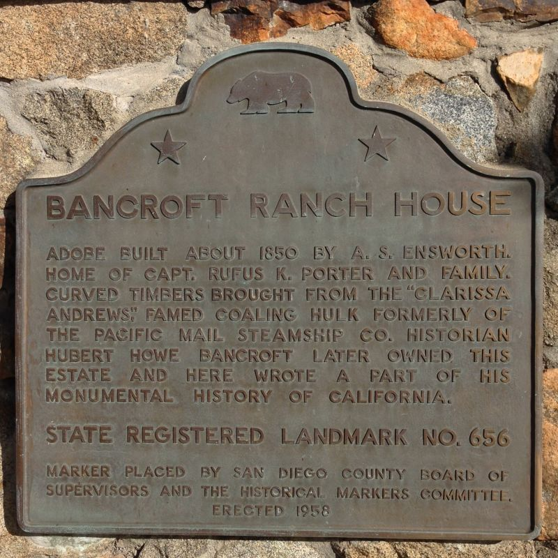 CHL #626 The Bancroft Ranch House plaque