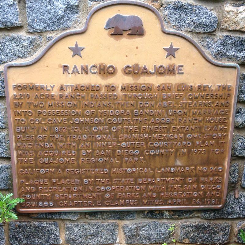 CHL 940 Rancho Guajome plaque