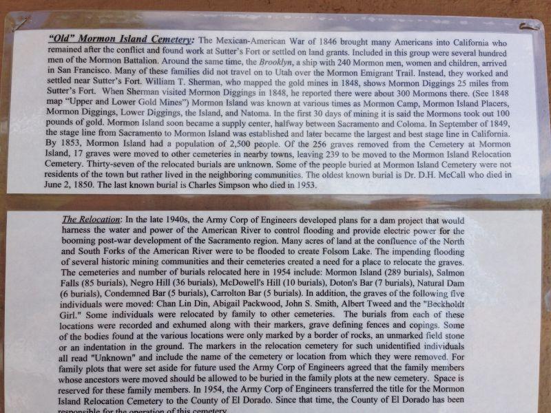 CHL #569 Mormon Island Relocation Cemetery Information Board