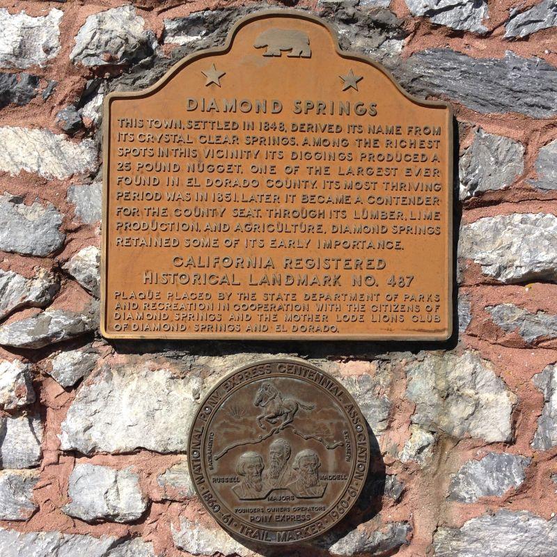 CHL No. 487  Diamond Springs Plaque
