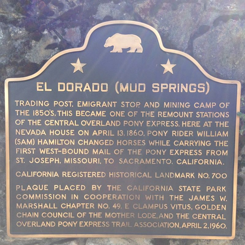 CHL No. 700  Pony Express: Nevada House (Mud Springs) Plaque
