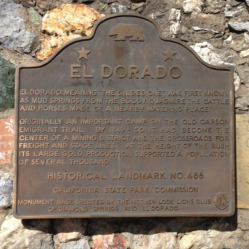 CHL No. 486  El Dorado (Originally Mud Springs) Plaque