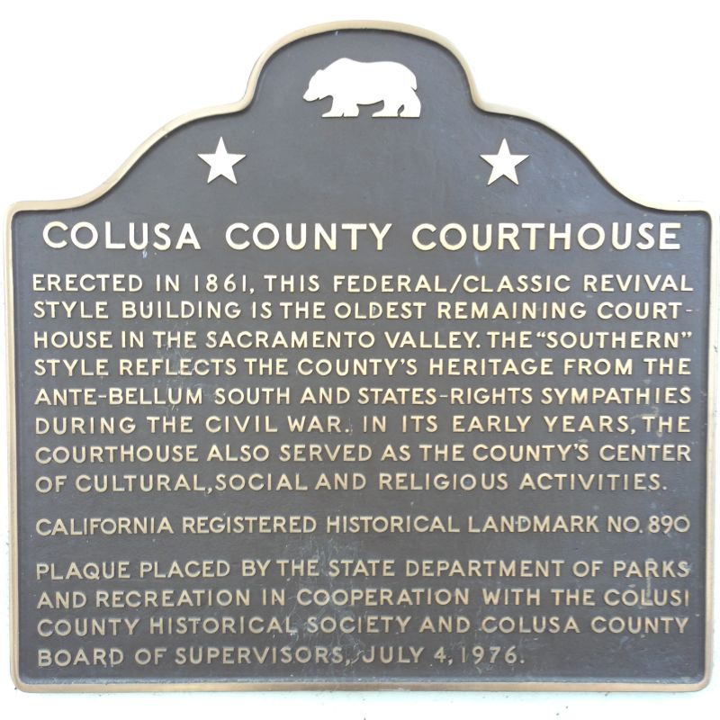 CHL No. 890  Colusa County Courthouse State Plaque