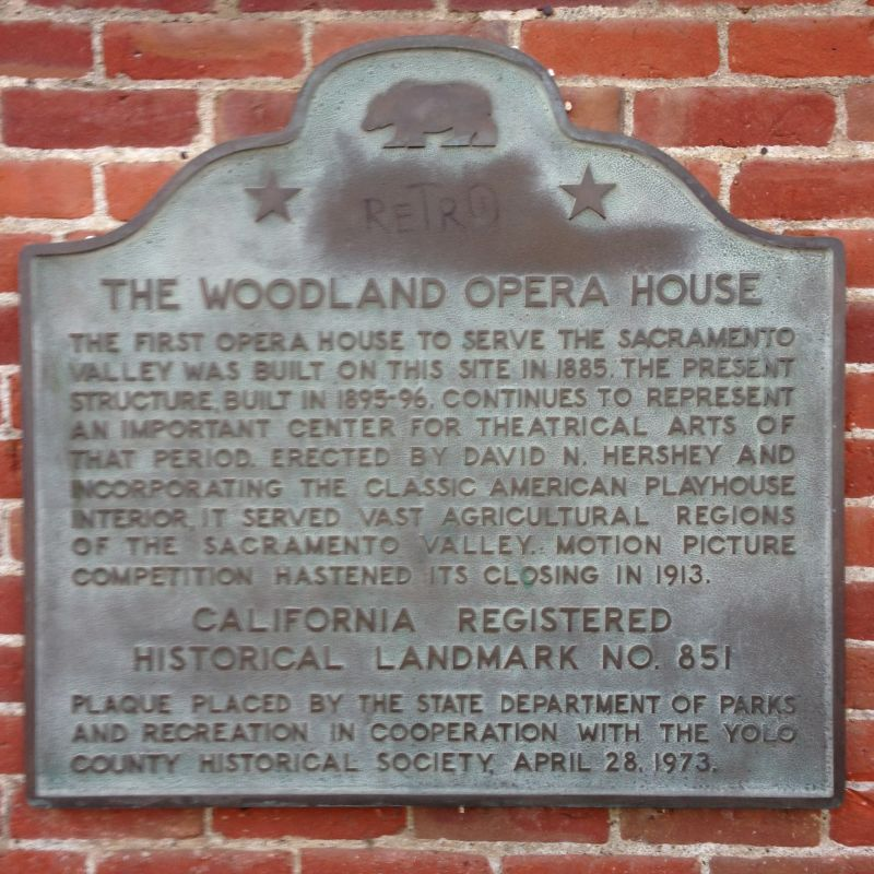 CHL No. 851 Woodland Opera House Plaque