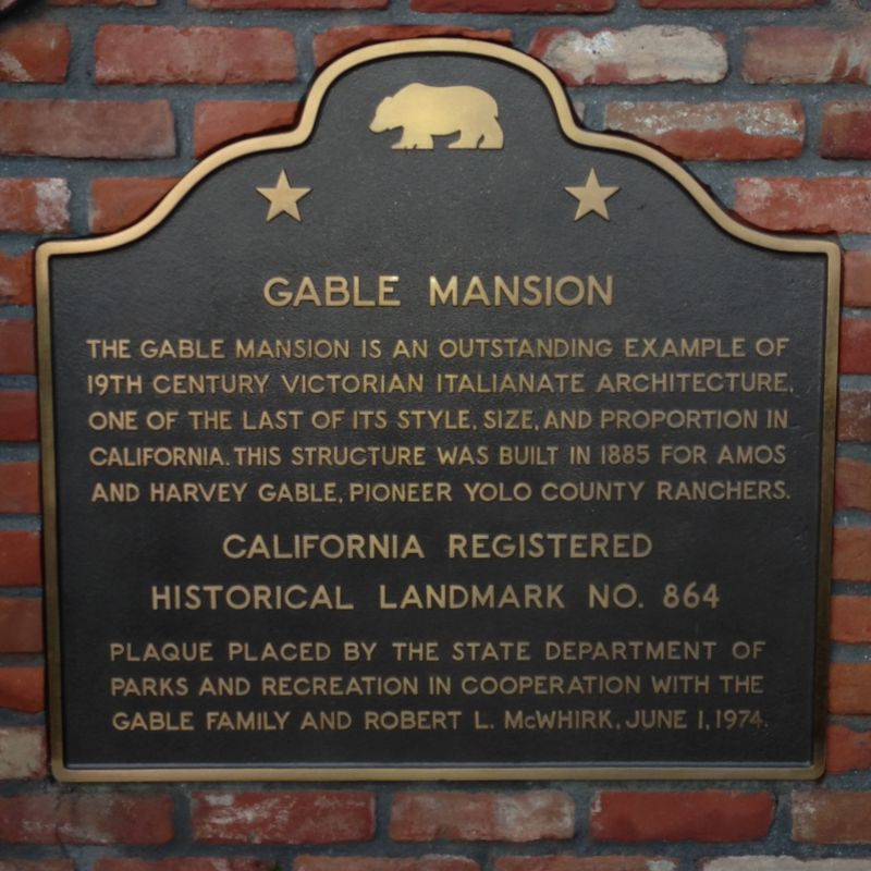 CHL No. 864  Gable Mansion State Plaque