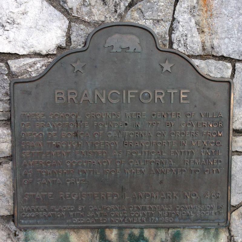 NO. 469 SITE OF CENTER OF VILLA DE BRANCIFORTE state plaque