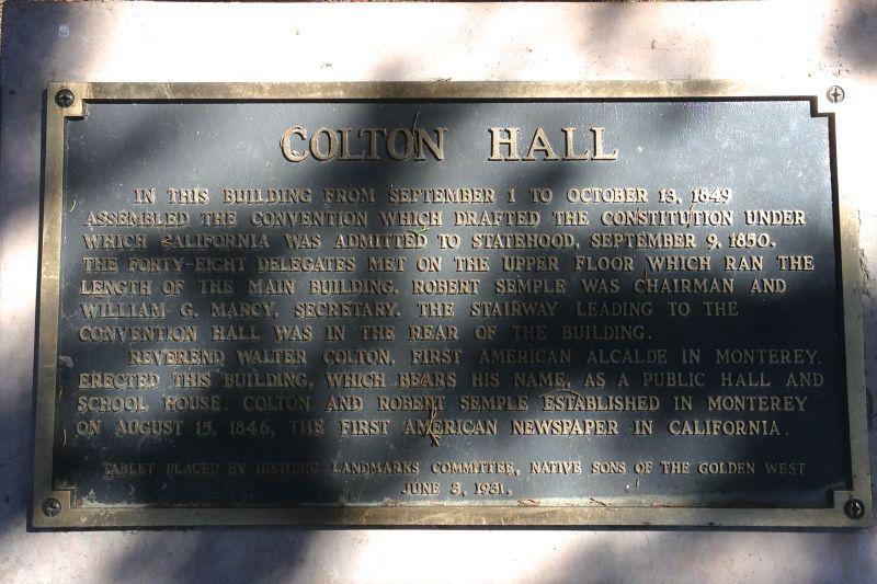 NO. 126 COLTON HALL, Private Plaque