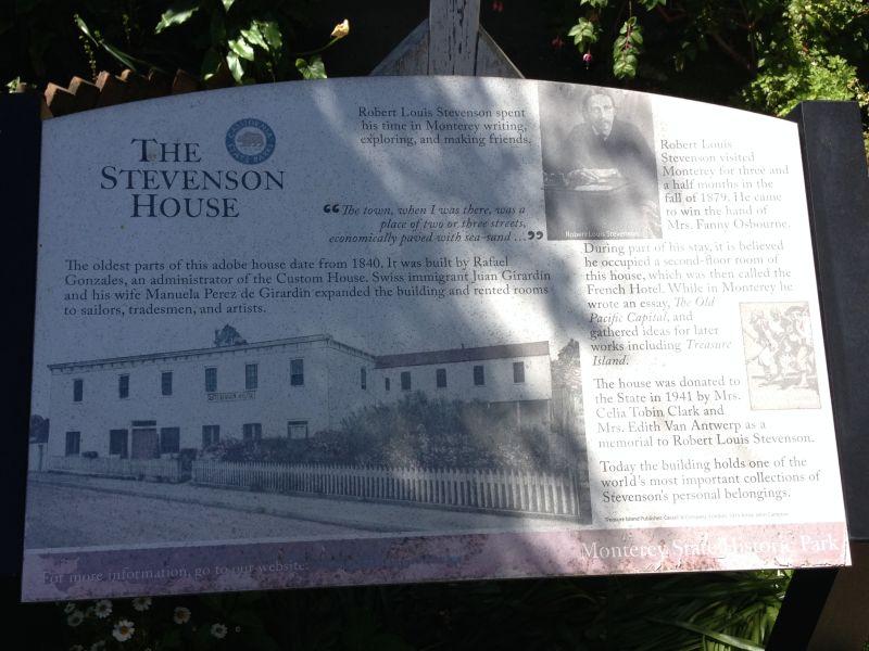 NO. 352 ROBERT LOUIS STEVENSON HOUSE, Information Plaque