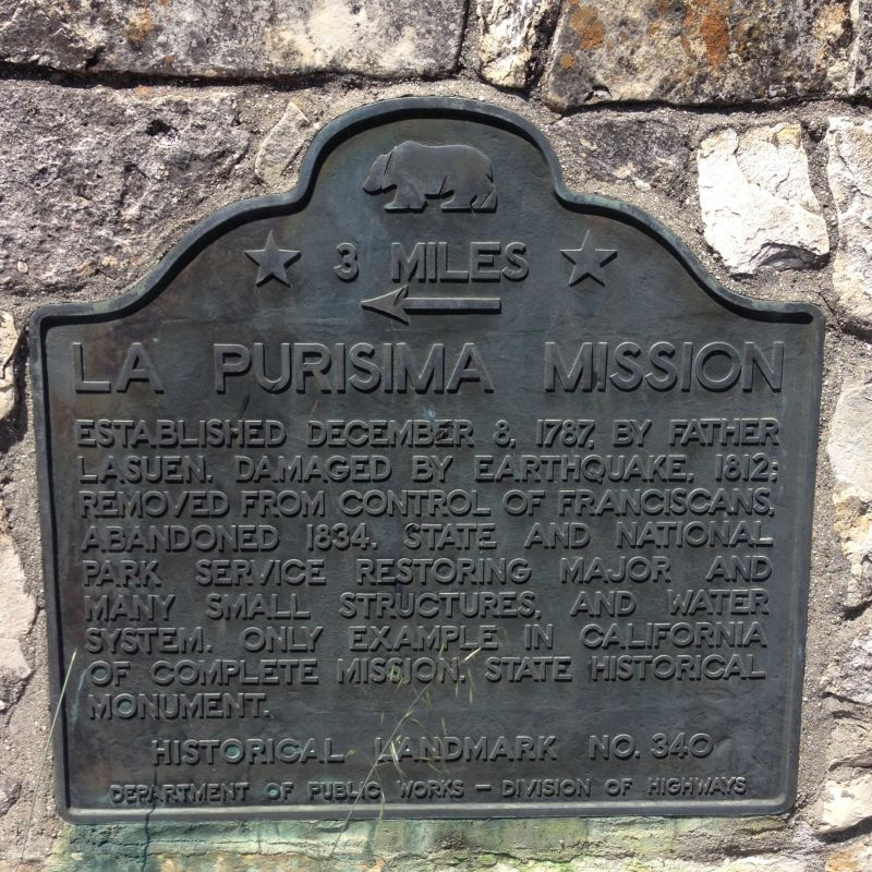 NO. 340 MISSION LA PURÍSIMA, State Plaque at the intersection of Rucker and Harris