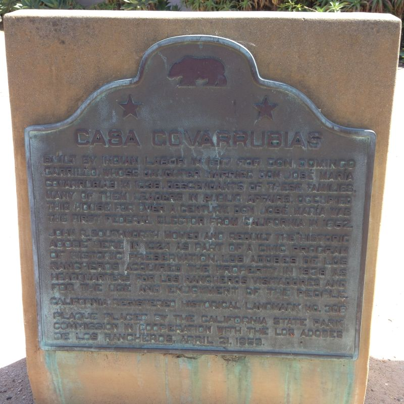 NO. 308 COVARRUBIAS ADOBE, State Plaque