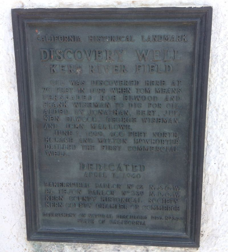 NO. 290 DISCOVERY WELL OF KERN RIVER OILFIELD, Old Style State Plaque