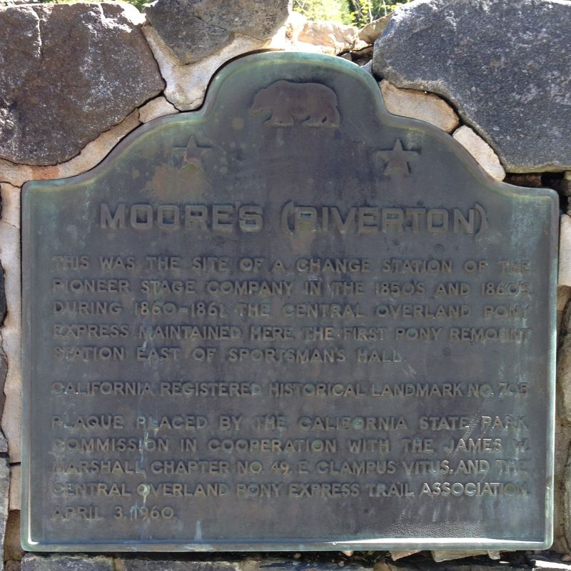 NO. 705 MOORE'S (RIVERTON)-OVERLAND PONY EXPRESS, State Plaque