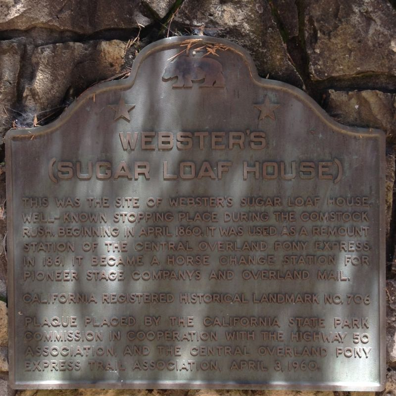NO. 706 WEBSTER'S (SUGAR LOAF HOUSE)-OVERLAND PONY EXPRESS, State Plaque