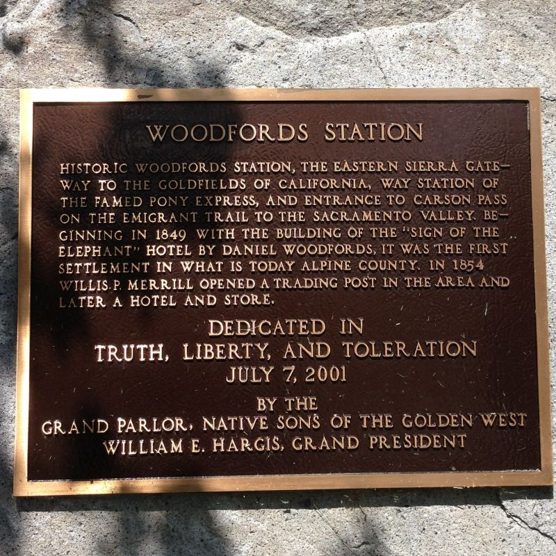 NO. 805 PONY EXPRESS REMOUNT STATION AT WOODFORDS, Private Plaque