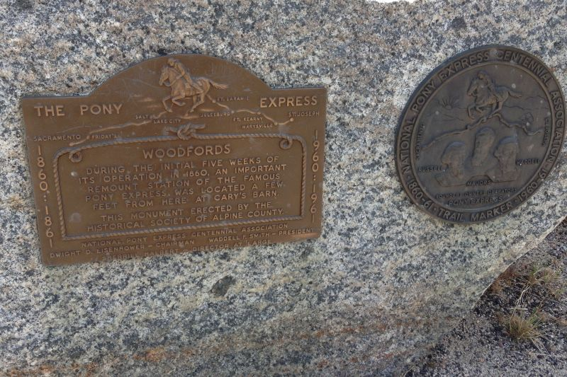 NO. 805 PONY EXPRESS REMOUNT STATION AT WOODFORDS, Private Plaques