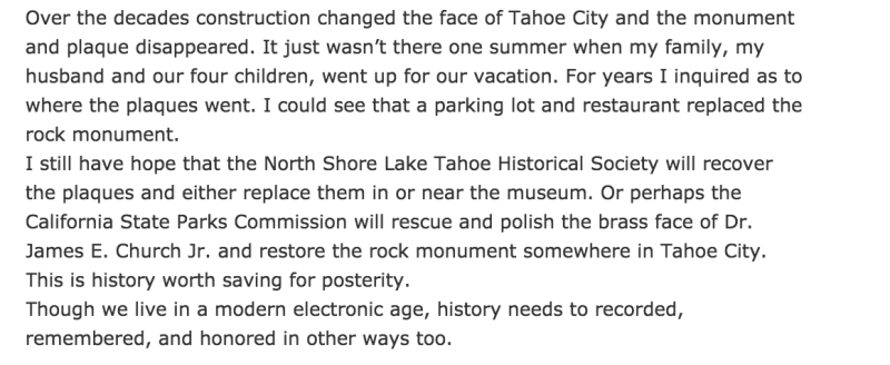 NO. 797 LAKE TAHOE OUTLET GATES, Article on Missing Plaque, see link above