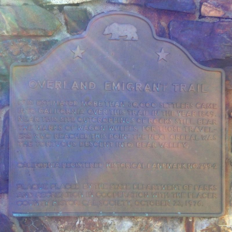 NO. 799-2 OVERLAND EMIGRANT TRAIL, State Plaque