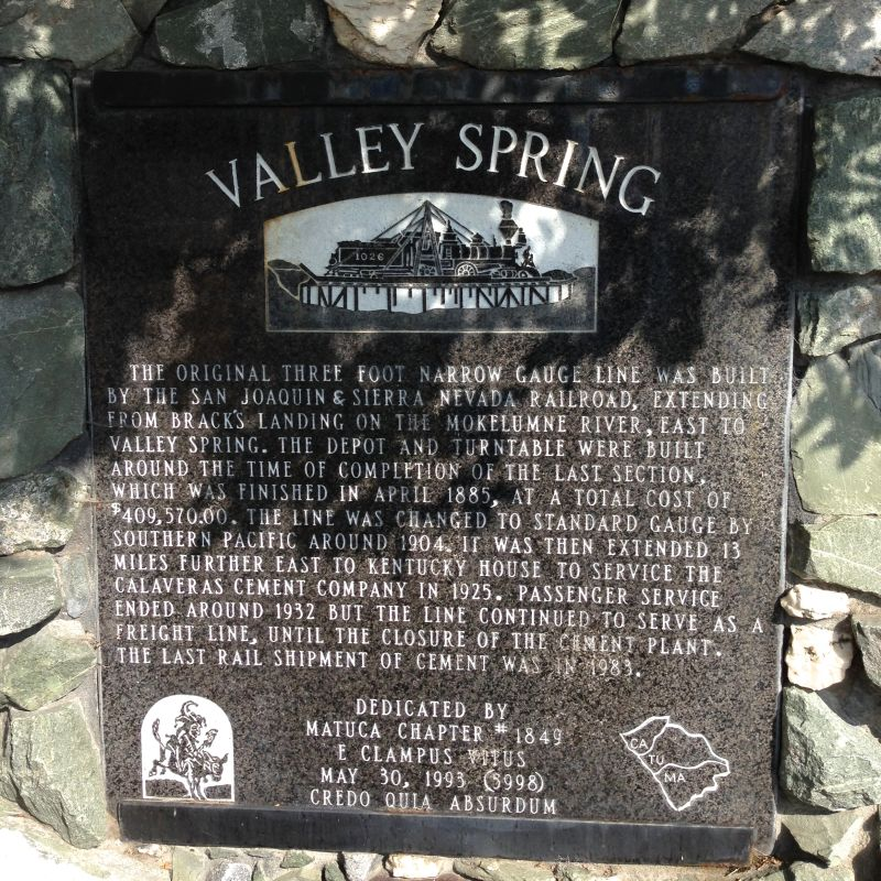 NO. 251 VALLEY SPRINGS - Private Plaque