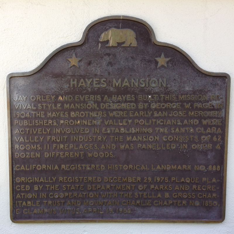NO. 888 HAYES MANSION - State Plaque