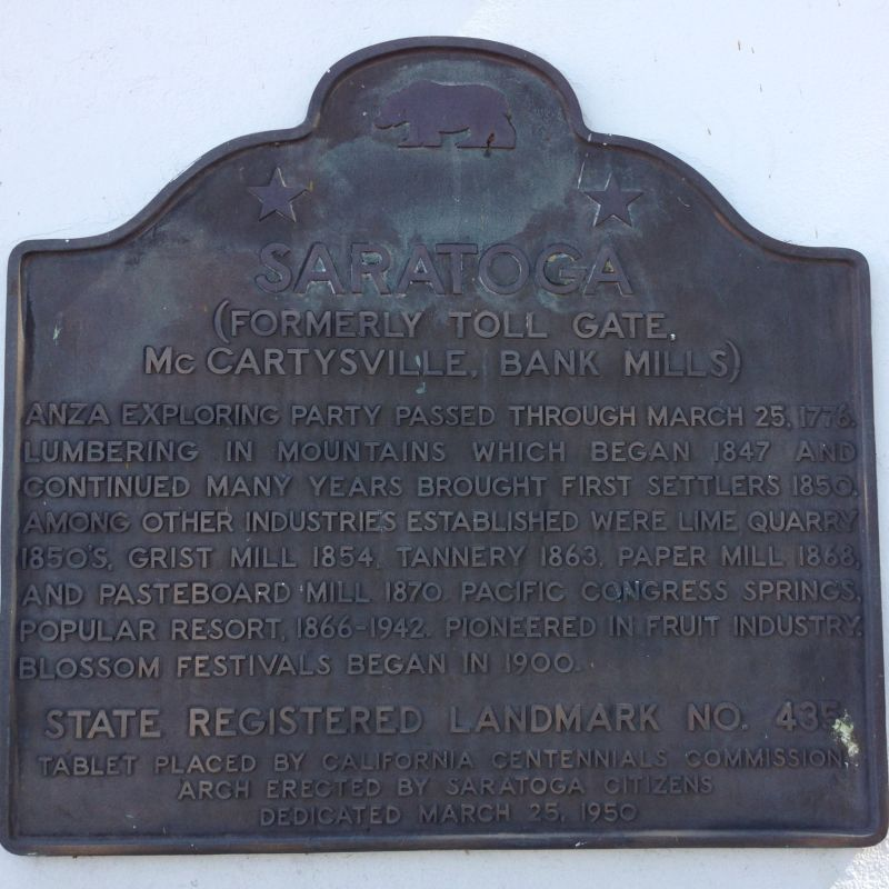 NO. 435 SARATOGA - State Plaque