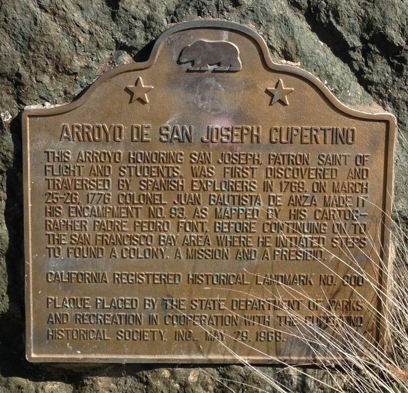 NO. 800 ARROYO DE SAN JOSEPH CUPERTINO - State Plaque