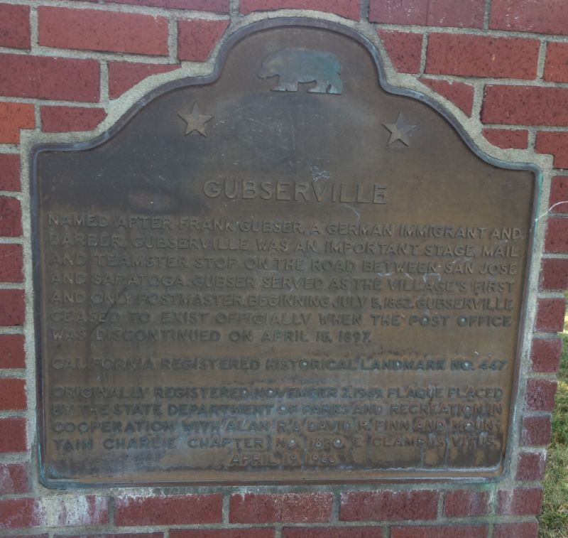 NO. 447 GUBSERVILLE - State Plaque