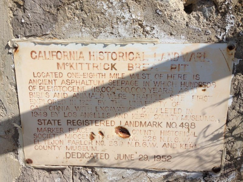 NO. 498 McKITTRICK BREA PIT - Private Plaque
