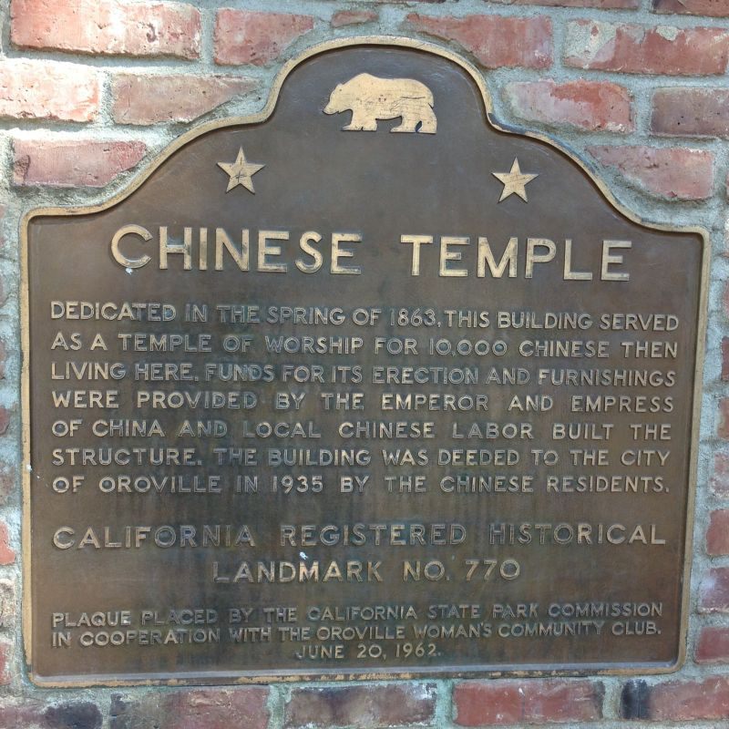 NO. 770 CHINESE TEMPLE - State Plaque