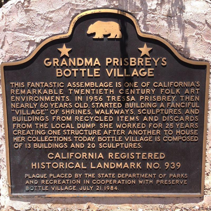NO. 939  GRANDMA PRISBREY'S BOTTLE VILLAGE - State Plaque